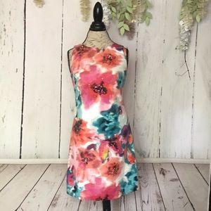 Eliza J Sleeveless Pink Floral Watercolor Dress